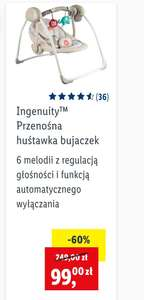 Ingenuity™ Przenośna huśtawka bujaczek Leżaczek Bujaczek elektryczny Lidl Lidl sklep