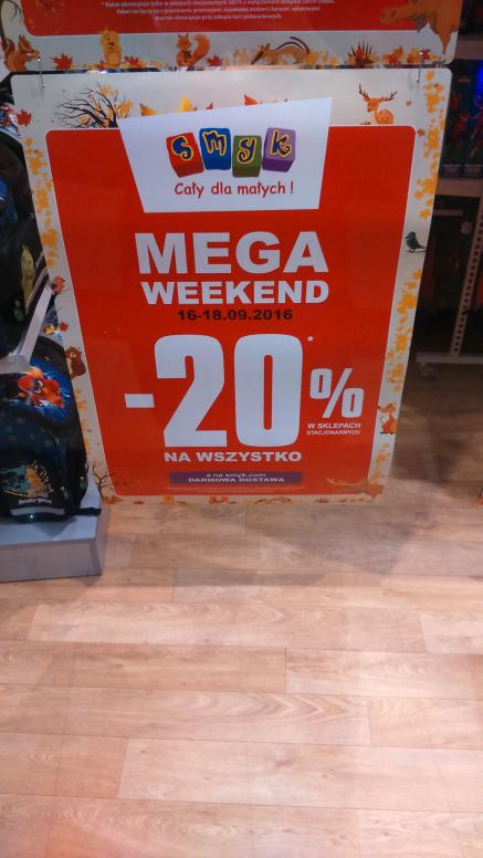 Mega weekend -20% na wszystko (stacjonarnie) a w internecie darmowa dostawa @Smyk