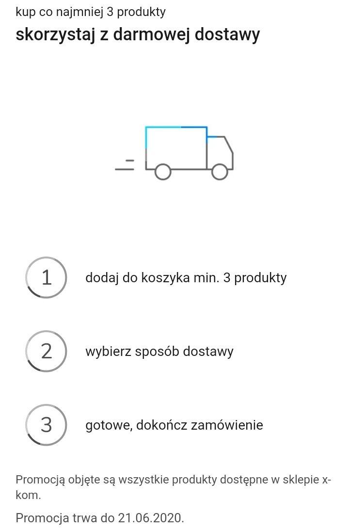 DARMOWA DOSTAWA w XKOM na wszystko przy zakupie min. 3 produktów do 21.06