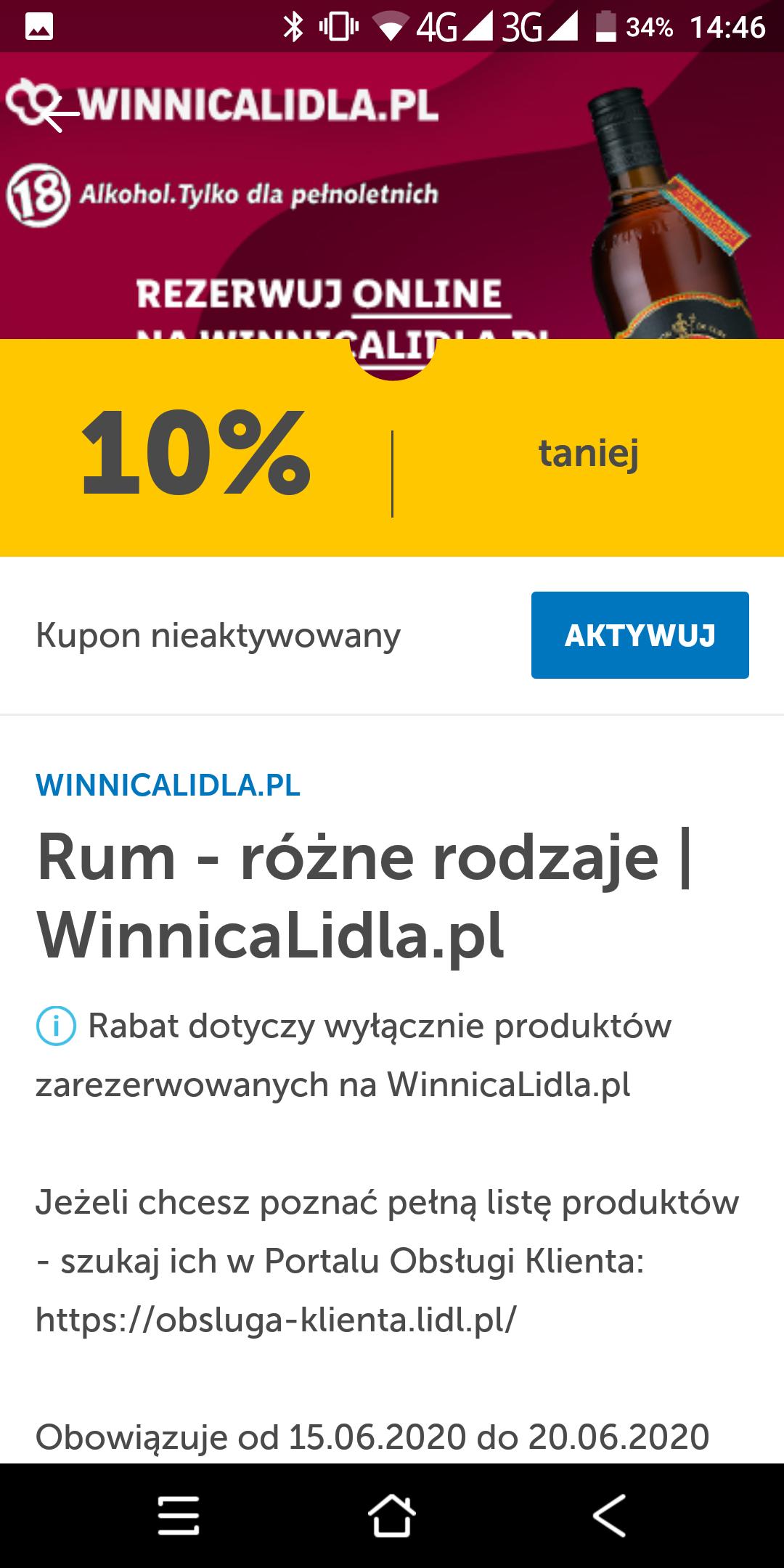 Winnica Lidla - 10% rabatu na rum z aplikacją