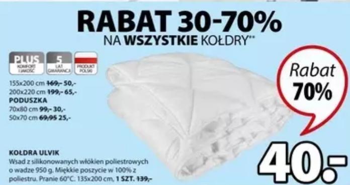 Kołdra ULVIK 135x200cm i inne + poduszki. Wybrane sklepy. Jysk