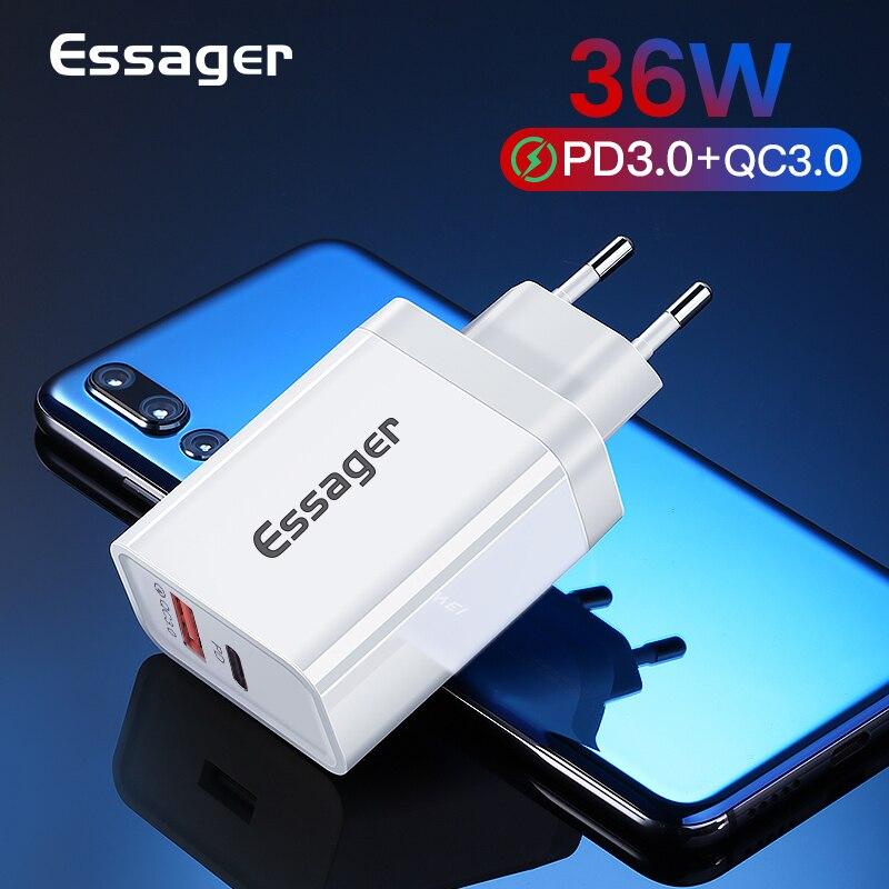 Ładowarka sieciowa Essager USB QC3.0 QC PD3.0 Aplikacja Ali Szybkie okazje 0.83$