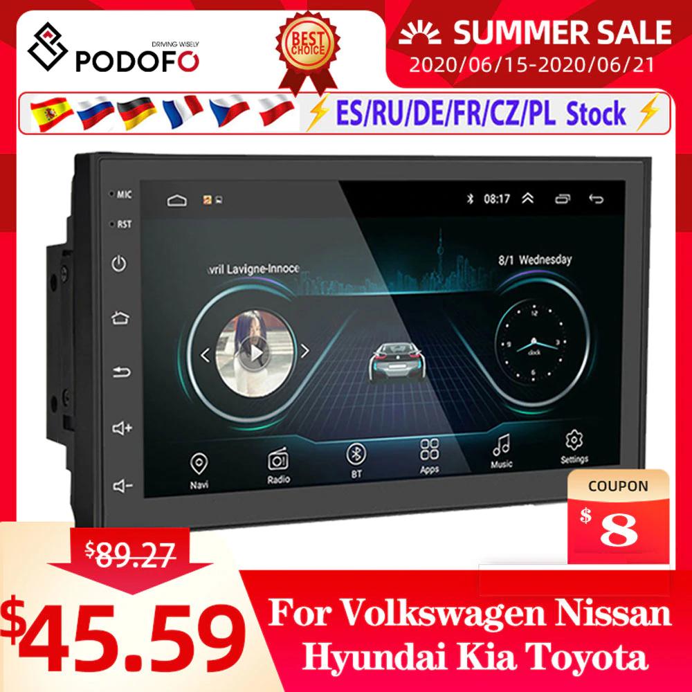 """Radio samochodowe 2 DIN Podofo (7"""", kamera cofania, GPS, Android 9.1) z Polski @AliExpress"""