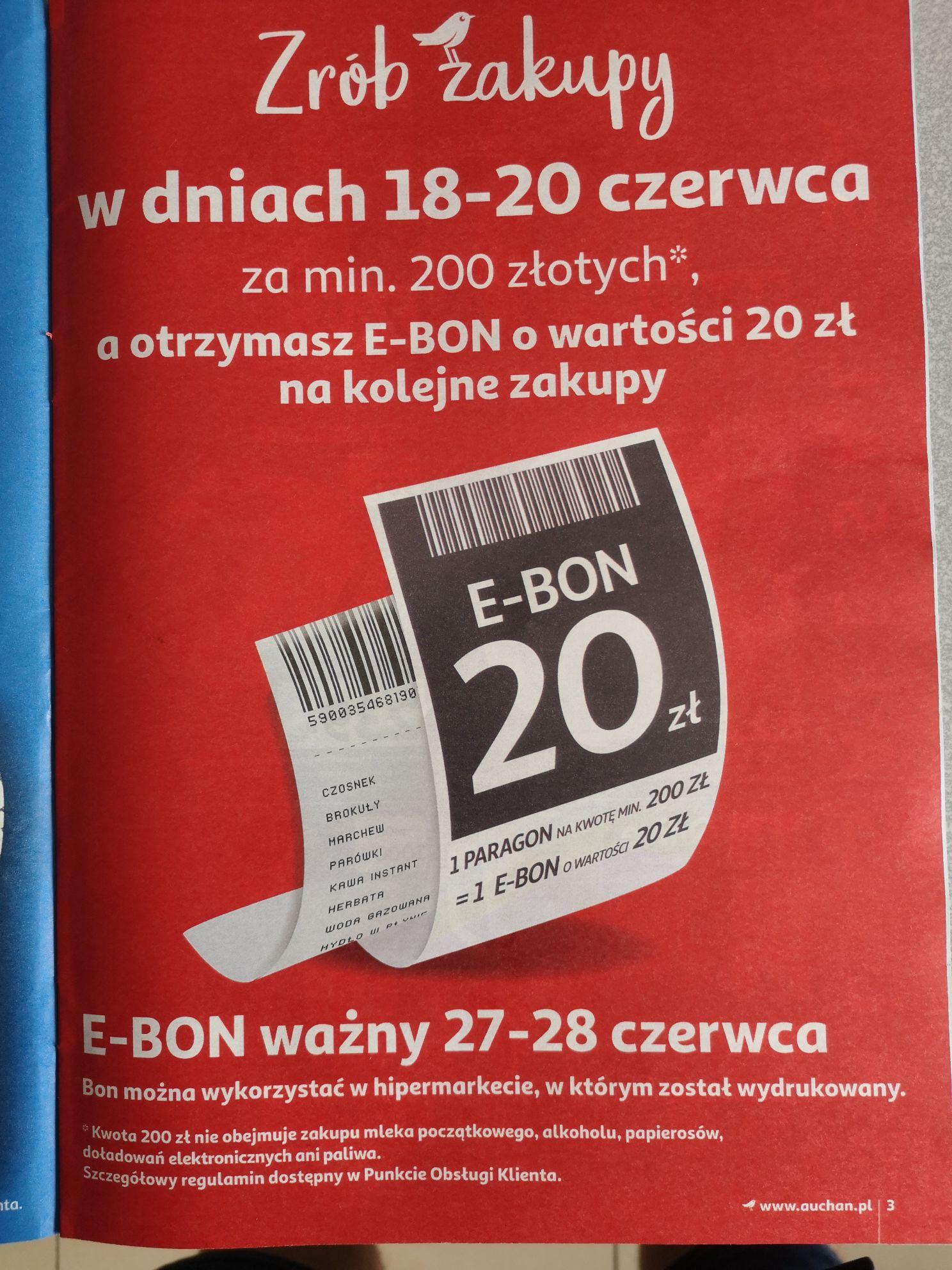 Auchan zrób zakupy za 200zł a otrzymasz bon o wartości 20 zł na kolejne zakupy.