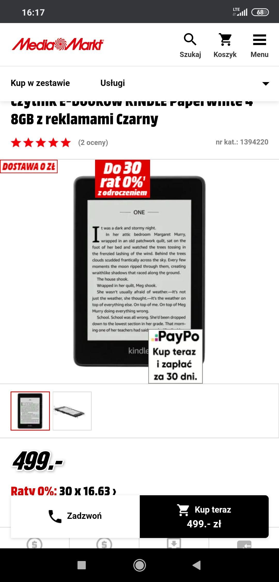 Czytnik E-booków KINDLE Paperwhite 4 8GB z reklamami Czarny