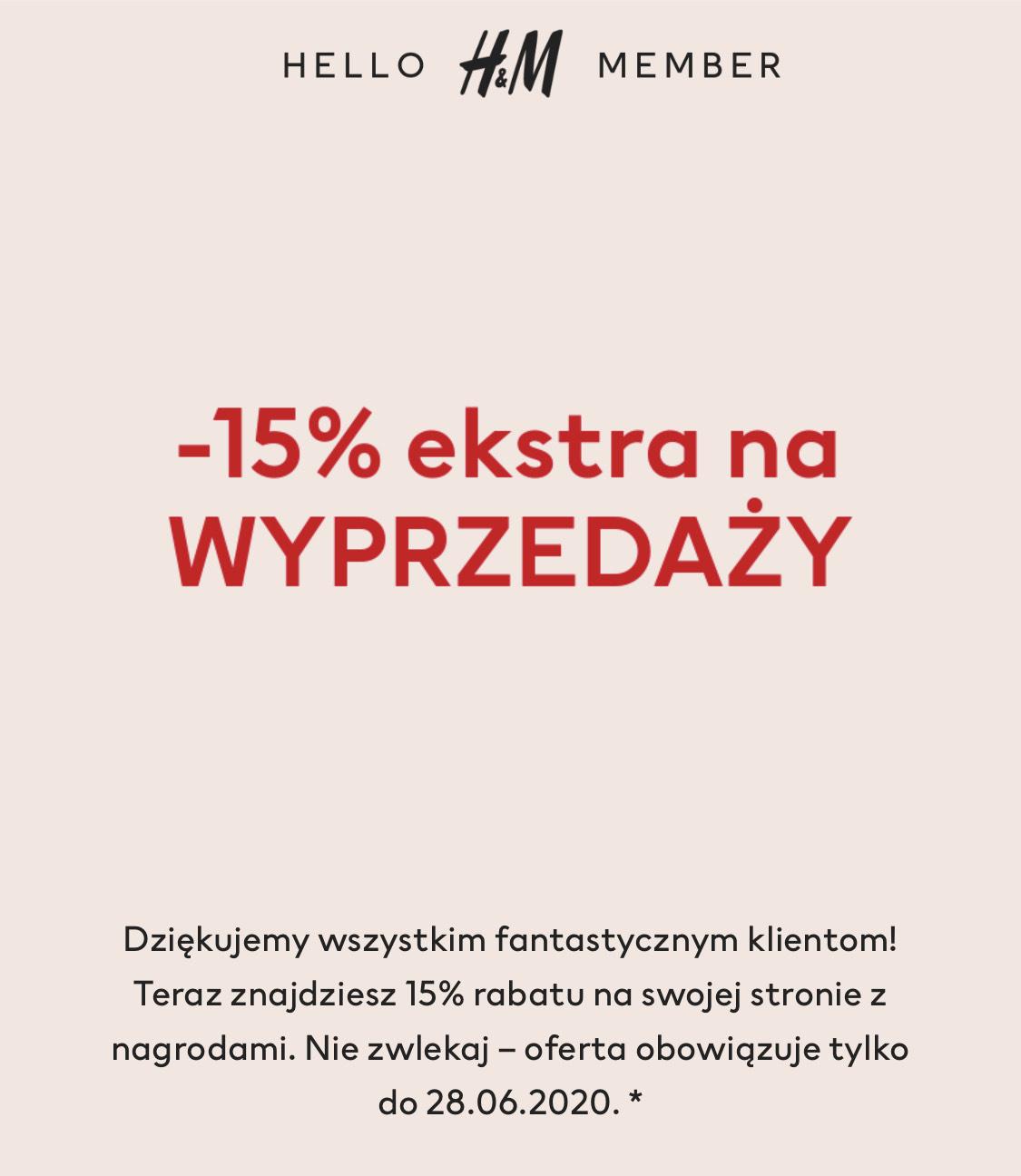Dodatkowe -15 % na Wyprzedaż H&M dla KLUBOWICZÓW