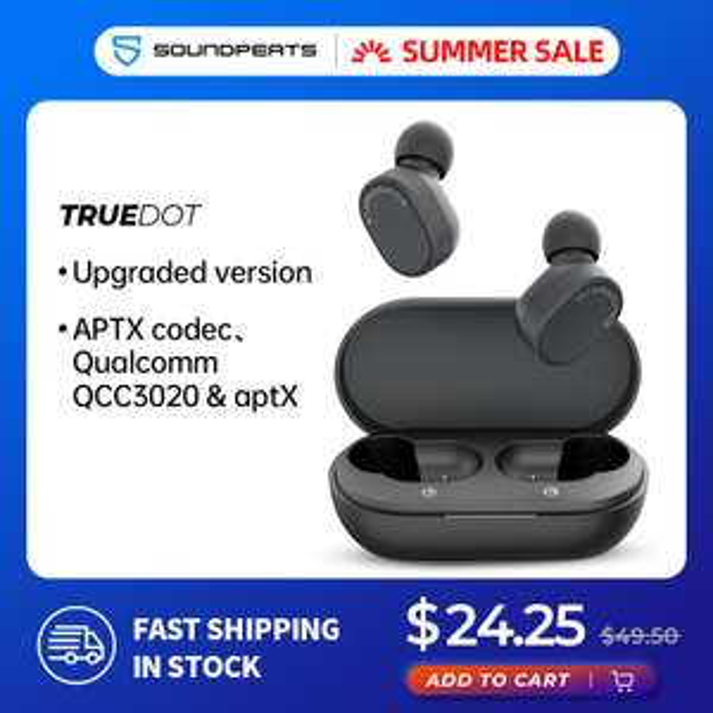 SoundPEATS TrueDot Aptx TWS słuchawki bezprzewodowe