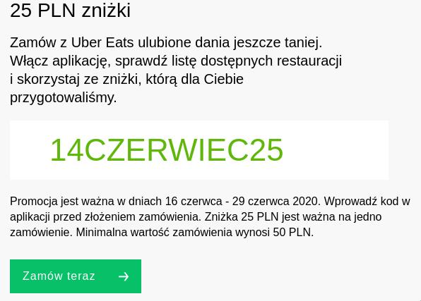 25 zł rabatu dla zamówień za minimum 50 zł - wybrane restauracje