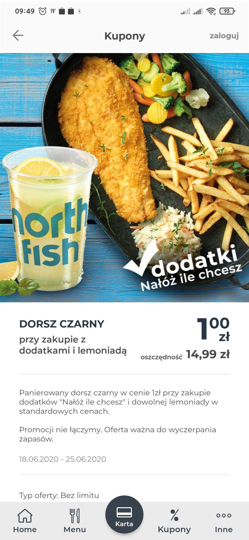 dorsz za 1pln przy zakupie lemoniady i dodatkow w nortfish