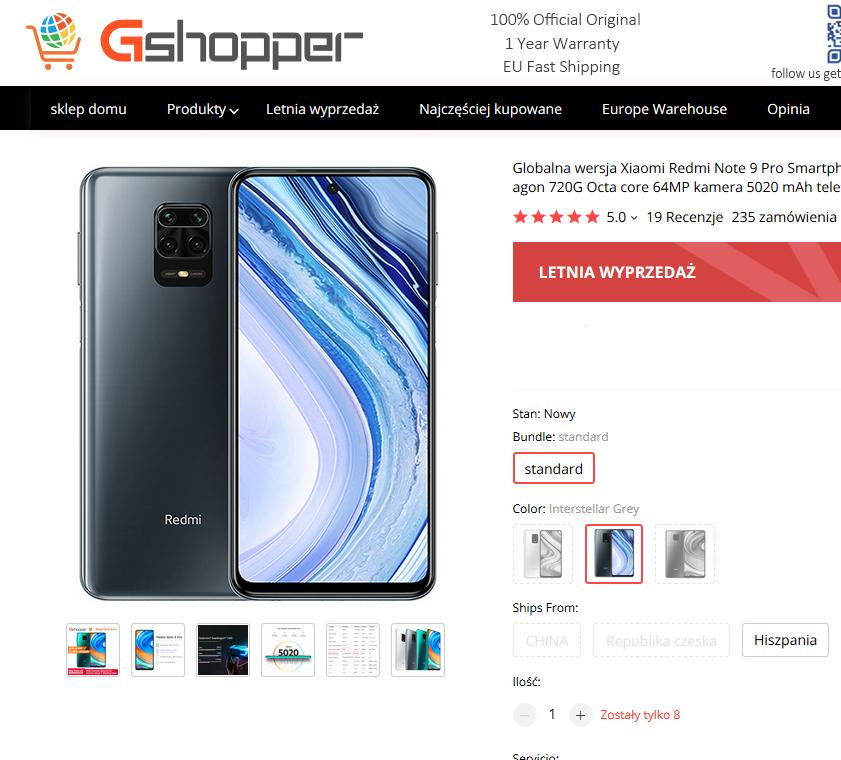 Xiaomi Redmi Note 9 PRO 6/64 Interstellar Grey