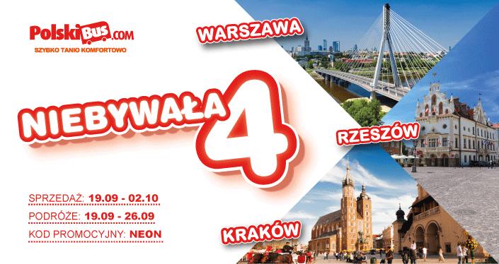 Polski Bus, Rzeszów-Warszawa, Rzeszów-Kraków, 4 zł+ 1 zł opłaty rezerwacyjnej