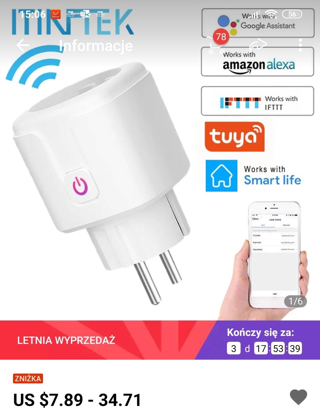 Inteligentna wtyczka x2 / Smart Plug wifi