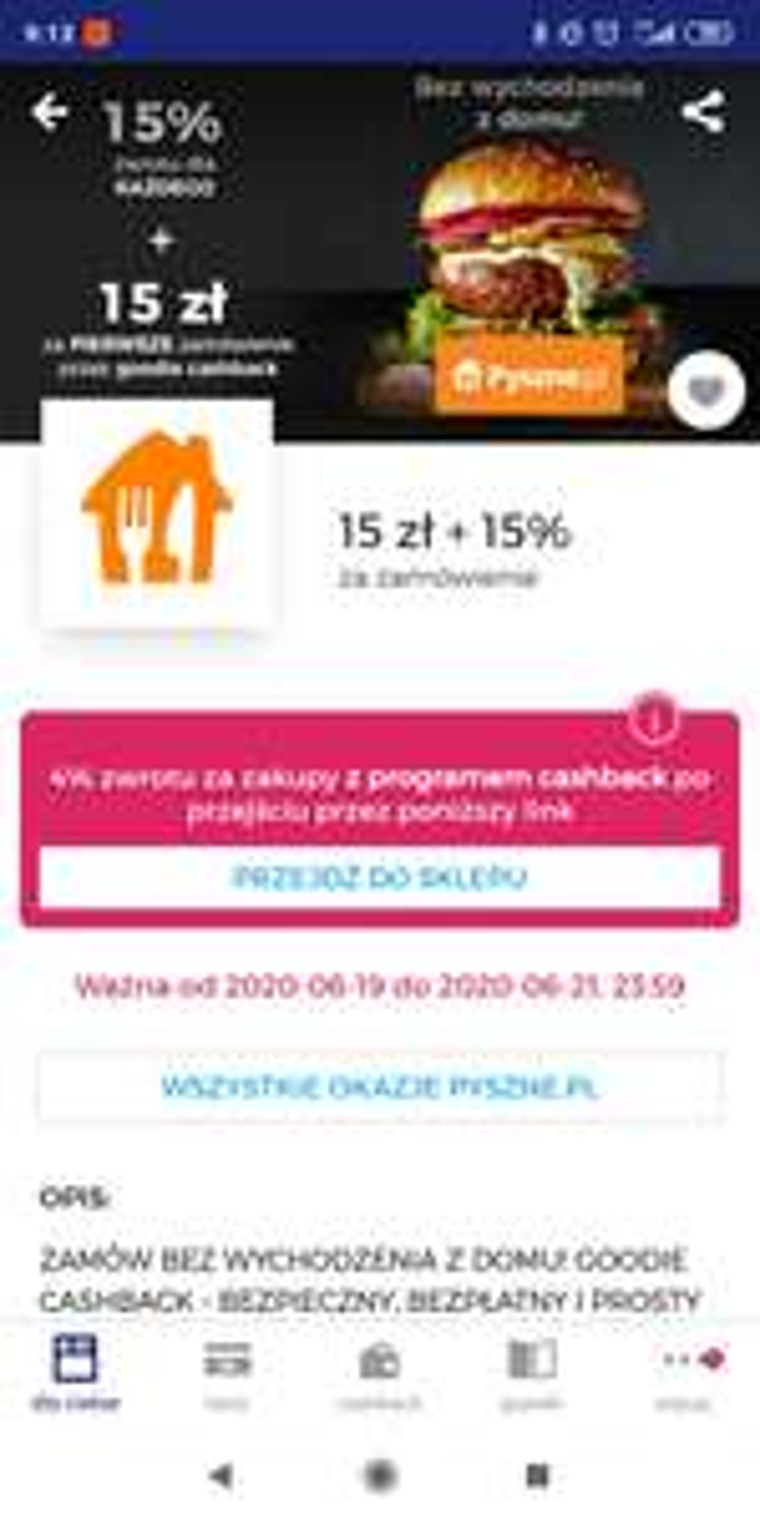 15% cashback pyszne.pl w Goodie