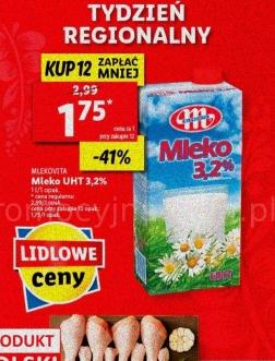 Mlekovita mleko UHT 3,2 % Kup 12 zapłać mniej |Pomidor malinowy 4,49 zł/kg| |Ser Gouda w plastrach XXL 1kg| I INNE @Lidl