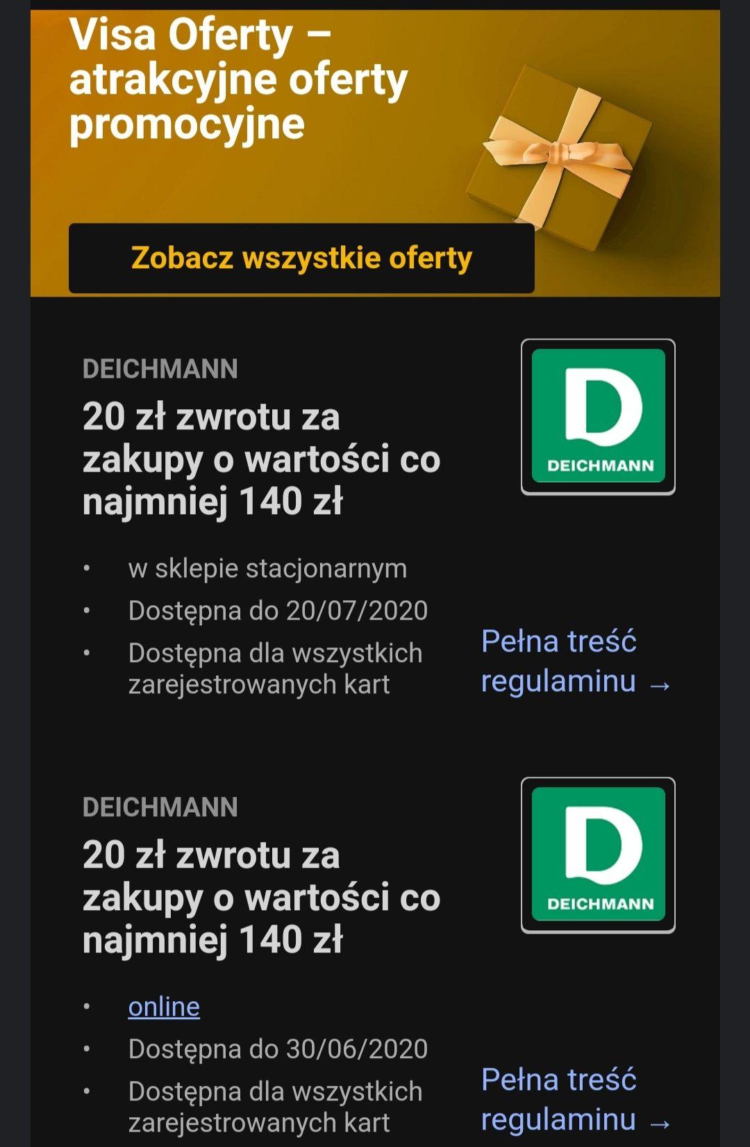 Visa oferty 20 zł zwrotu w sklepie Deichman