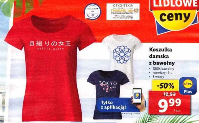 Damska koszulka bawełniana za 9,99zł, 3 wzory. Lidl