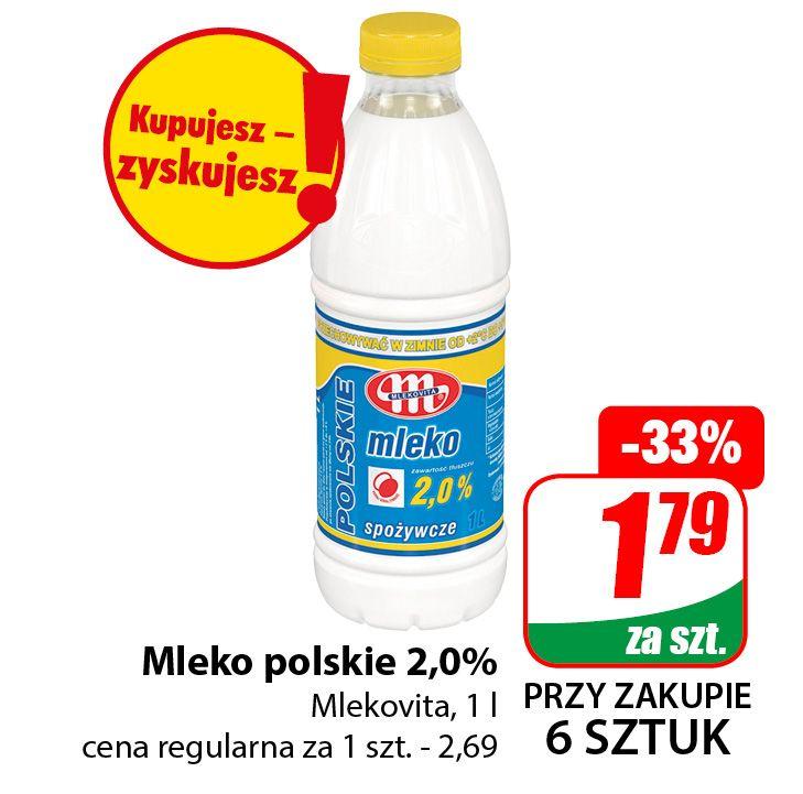 Mleko polskie Mlekovita 2,0% 1l (cena przy zakupie 6szt.) - DINO