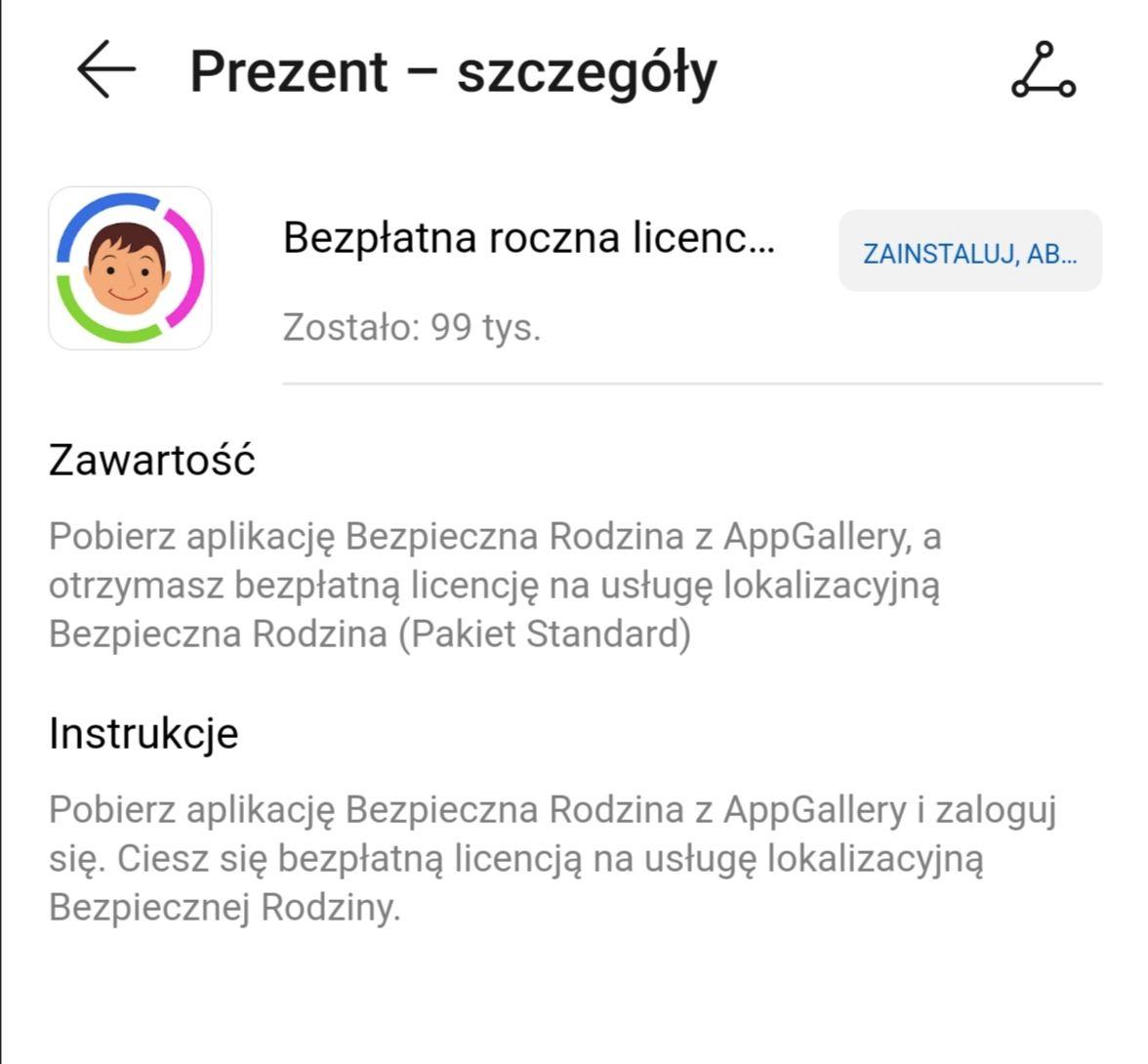 Roczna licencja na aplikacje Bezpieczna Rodzina. Huawei