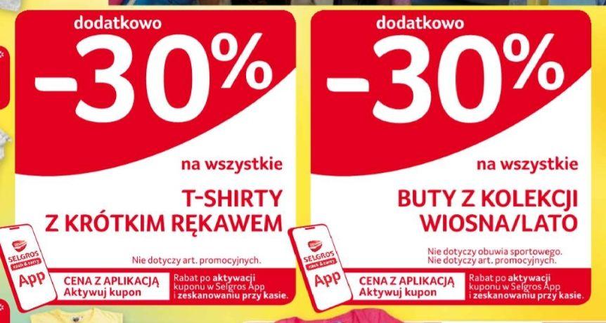 -30% na T-shirty z krótkim rękawem i buty z kolekcji wiosna-lato w Selgros z kuponem w aplikacji