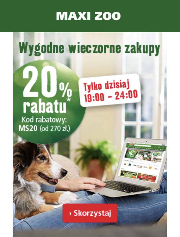 -20% na wszystko* w Maxizoo MWZ 270 zł