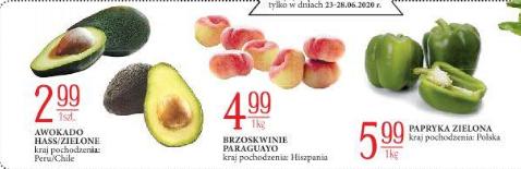 Papryka zielona 5,99 zł / kg Brzoskwnie Paraguayo 4,99 zł / kg i Avocado Hass / Zielone 2,99 zł / szt. @E.Lecrerc