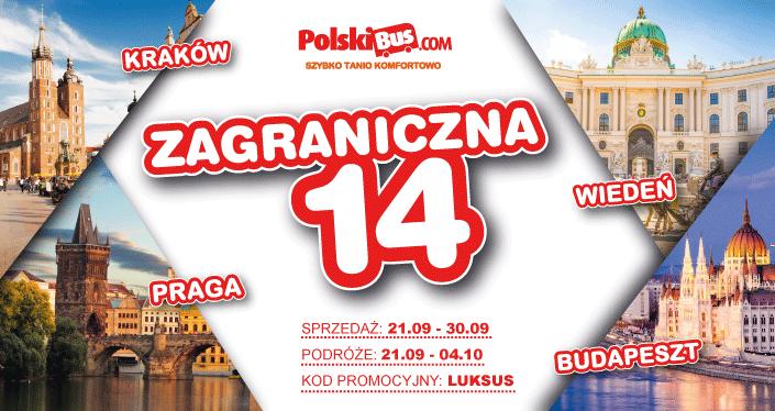 Polski Bus,  Kraków - Praga, Budapeszt lub Wiedeń 14 zł+1 zł opłata rezerwacyjna