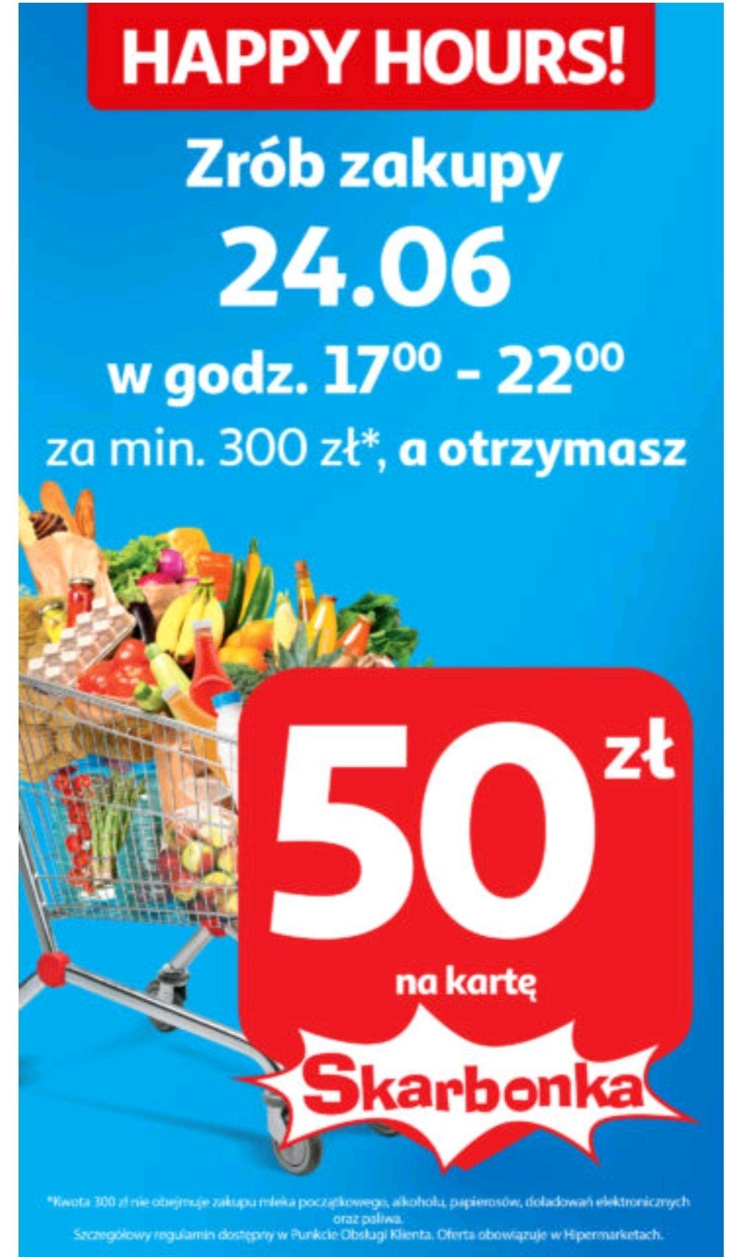 50zl zwrotu za zakupy od 300zl w Auchan