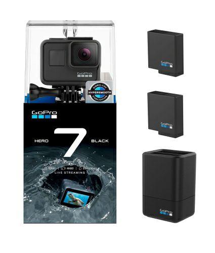 Kamera GoPro HERO 7 Black + podwójna ładowarka + dodatkowy akumulator