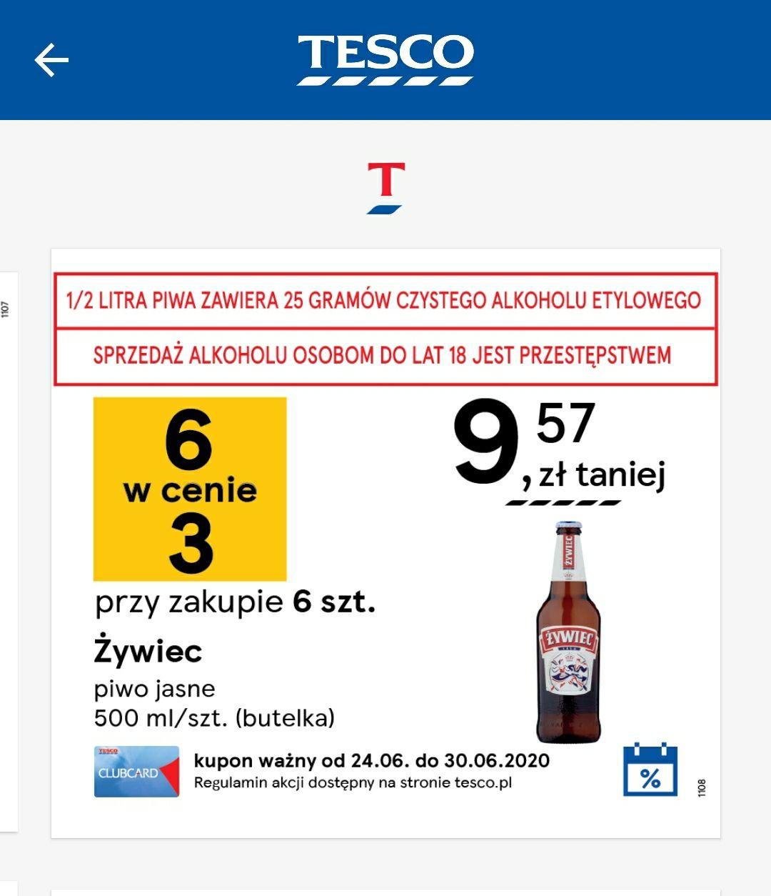 Promocje codzienne w aplikacji Clubcard Tesco - Przy zakupie 6 piw Żywiec 3 sztuki gratis 24.06