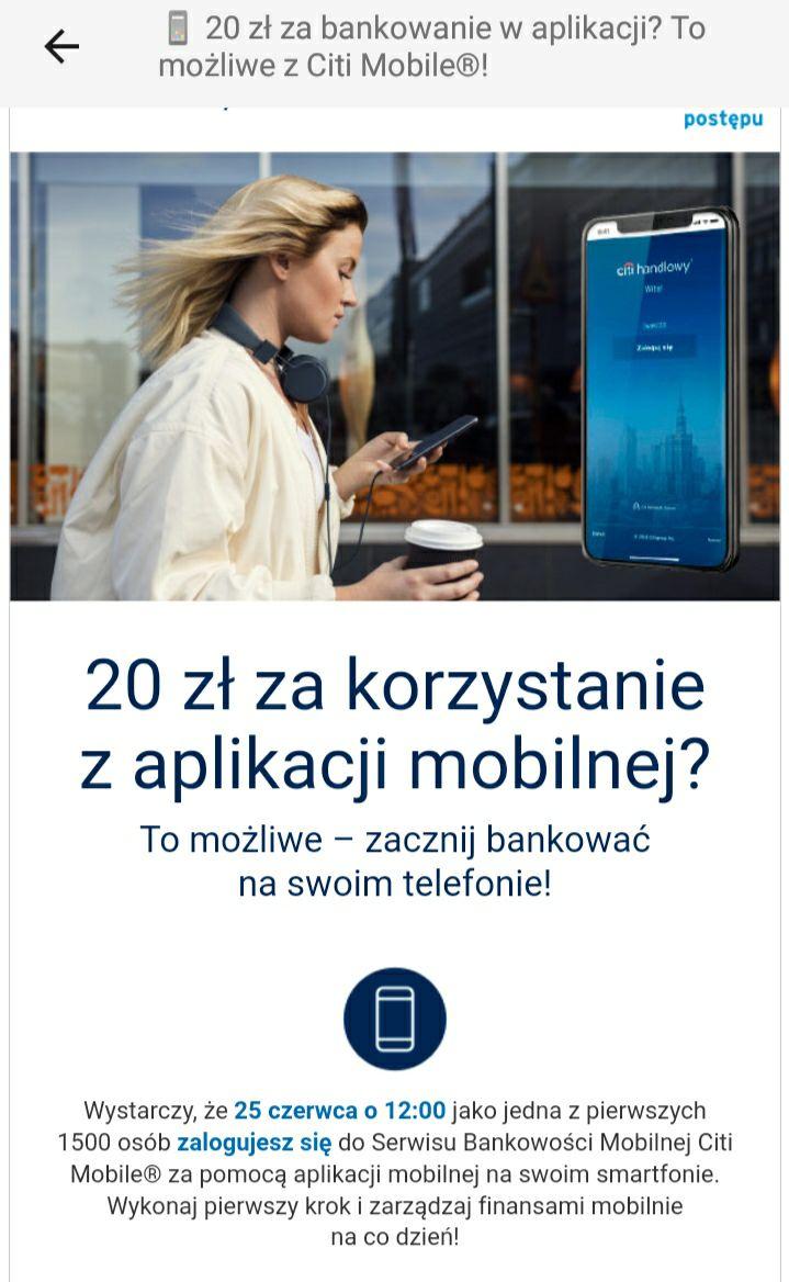 20zł zabankowanie na Smartphonie Citi Handlowy