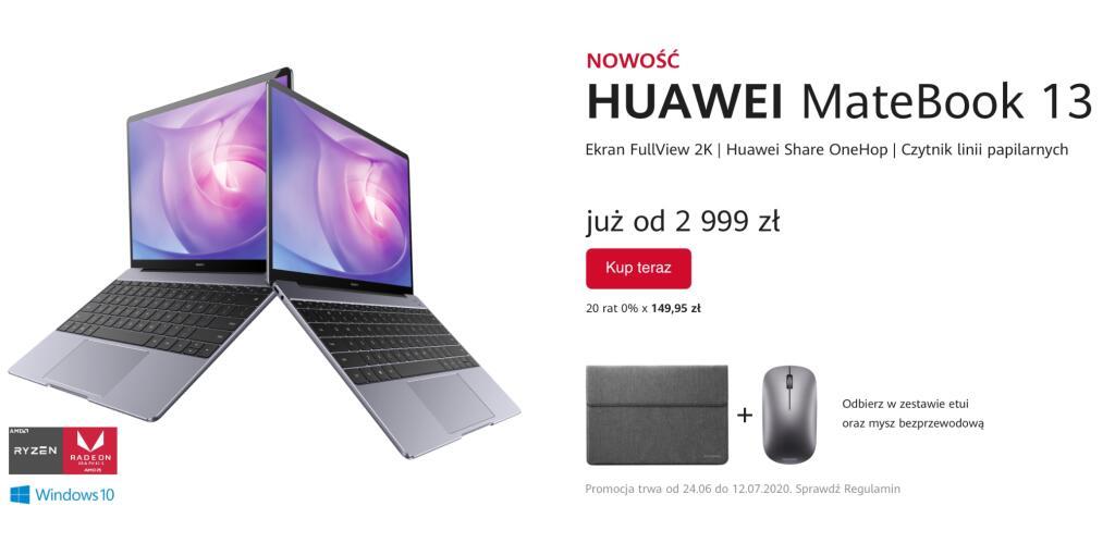 Huawei Matebook 13 2020 z AMD Ryzen 5 8 /256 z Radeonem w przedsprzedaży