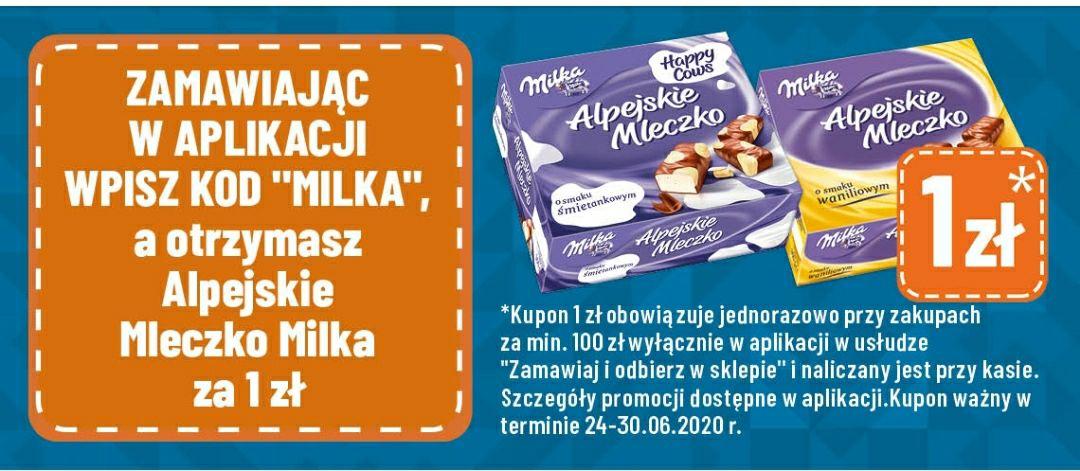 POLOMarket - Milka alpejskie mleczko za 1 zł przy zakupach w aplikacji za min 100 zł.