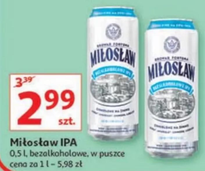 Piwo Miłosław IPA bezalkoholowe 500ml. Auchan