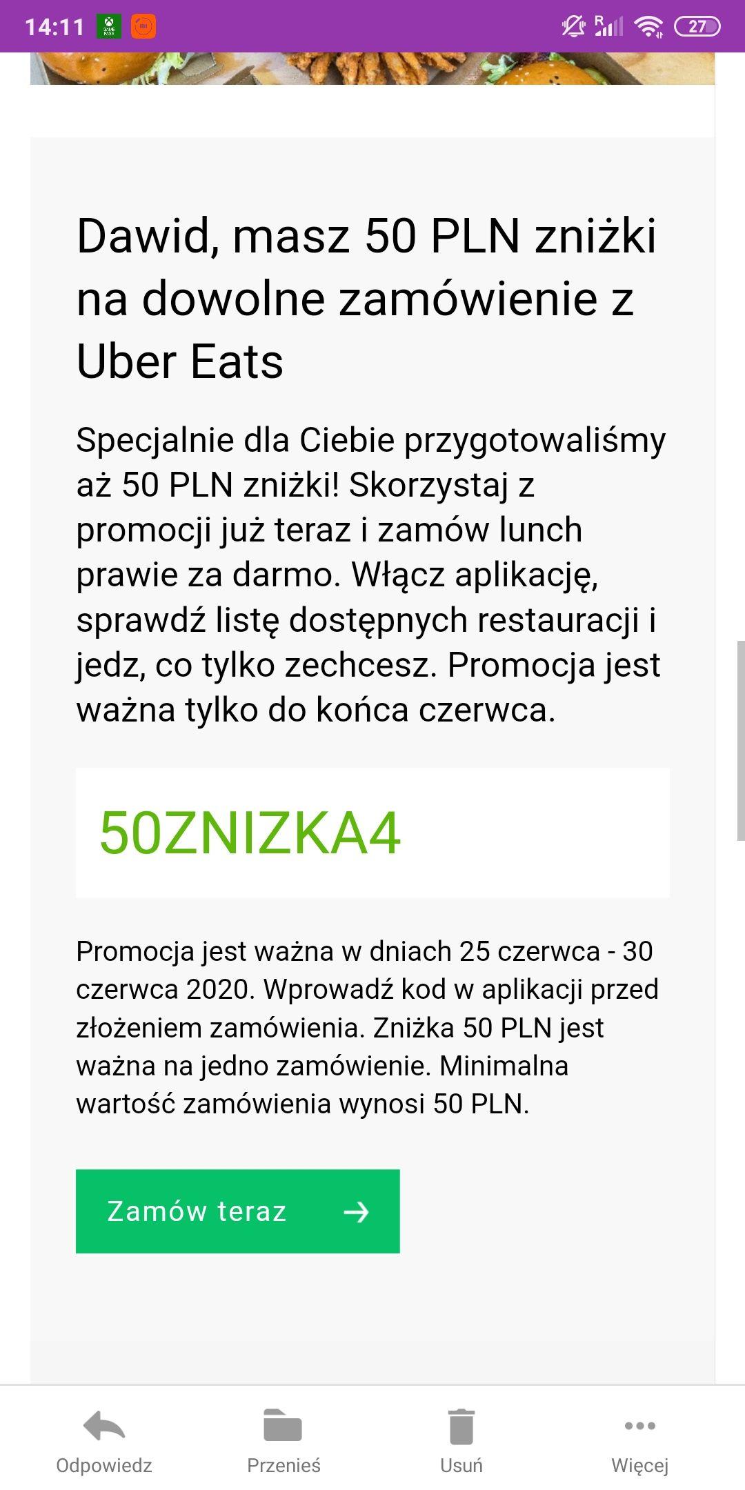 50PLN Zniżki uber eats przy zamówieniu za min 50PLN