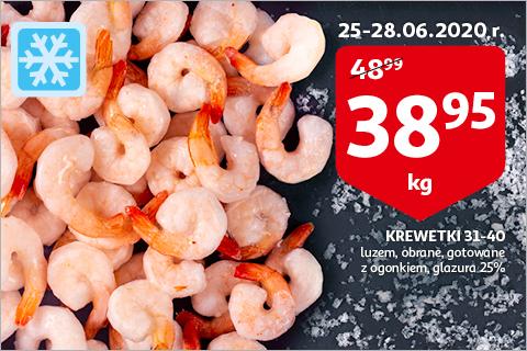 Krewetki 31-40 gotowane za 38.95zł/kg na auchan