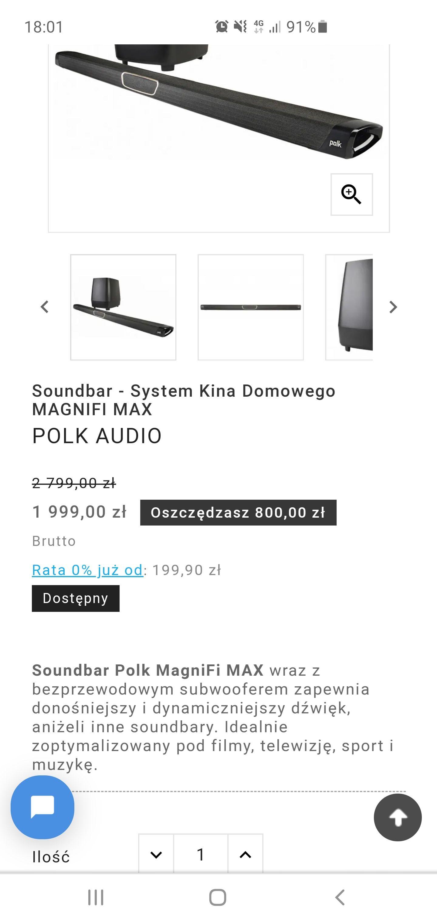 Soundbar Polk Audio Magnifi Max 800 pln taniej