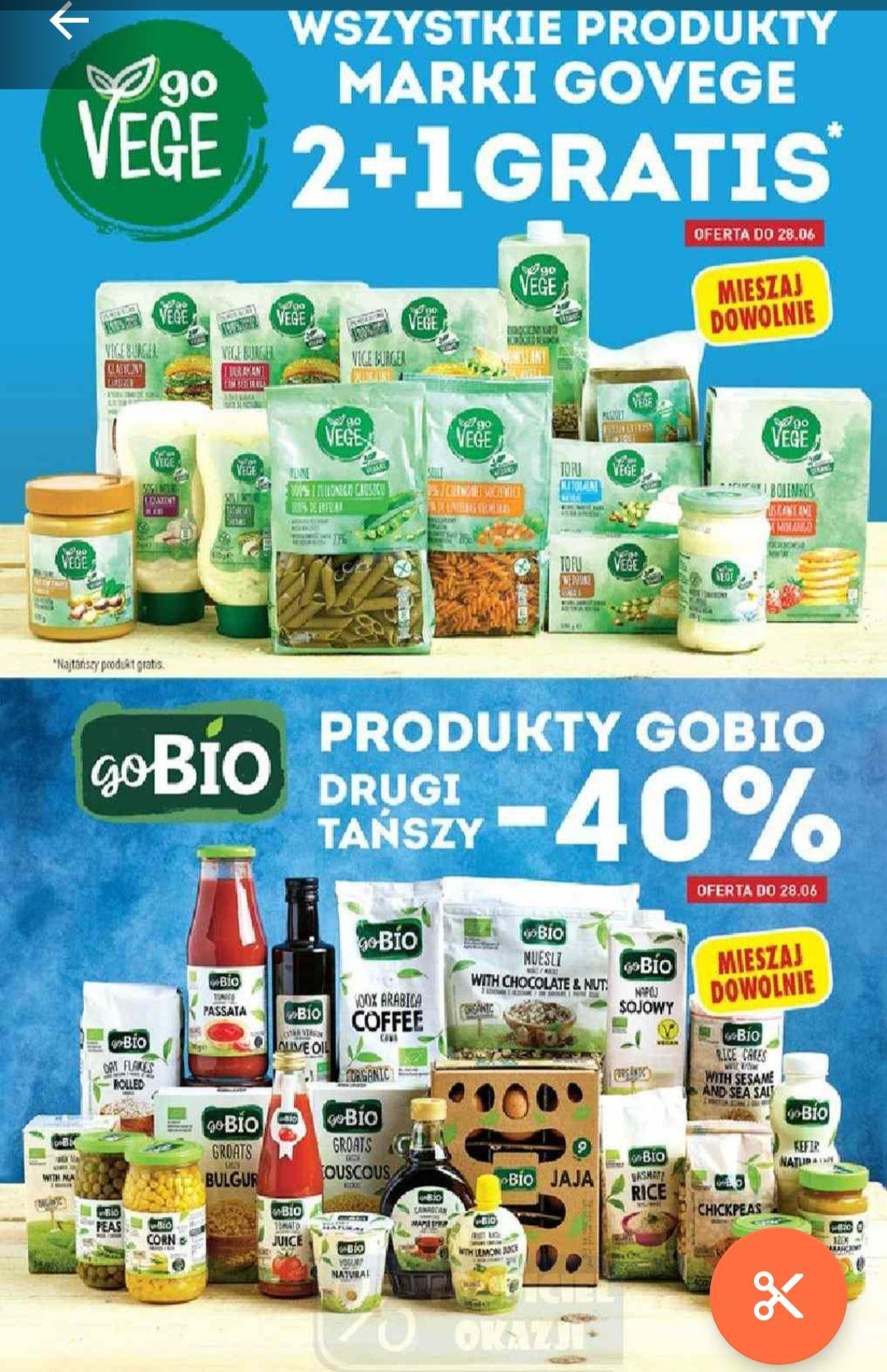 Wszystkie produkty marki goVege 2+1 gratis oraz produkty goBio drugi tańszy produkt -40% @Biedronka