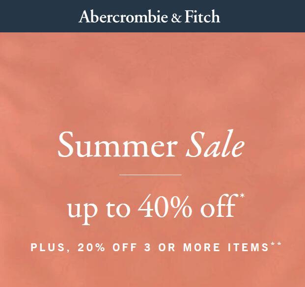 Abercrombie & Fitch -20% przy zamówieniu 3 lub więcej przedmiotów