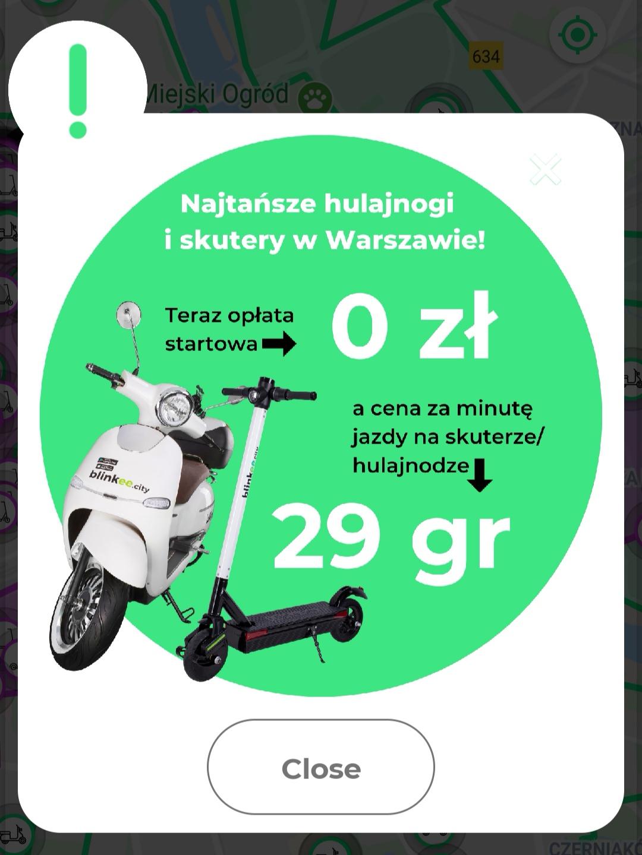 Blinkee Warszawa - hulajnoga i skuter wypożyczenie 0 zł oraz 0,29 zł za minutę jazdy