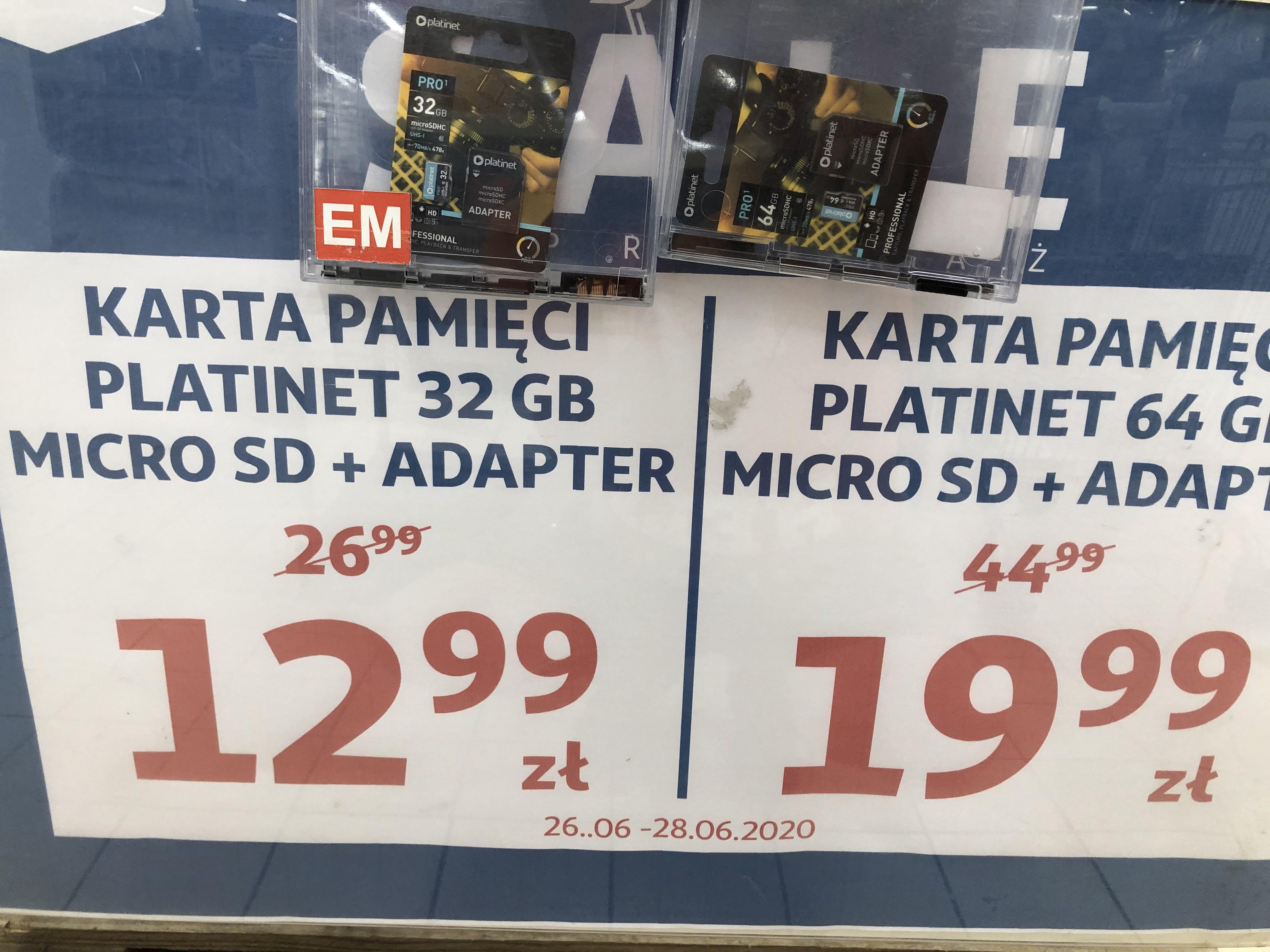 Karty microSD Platinet 32 i 64 GB @Auchan