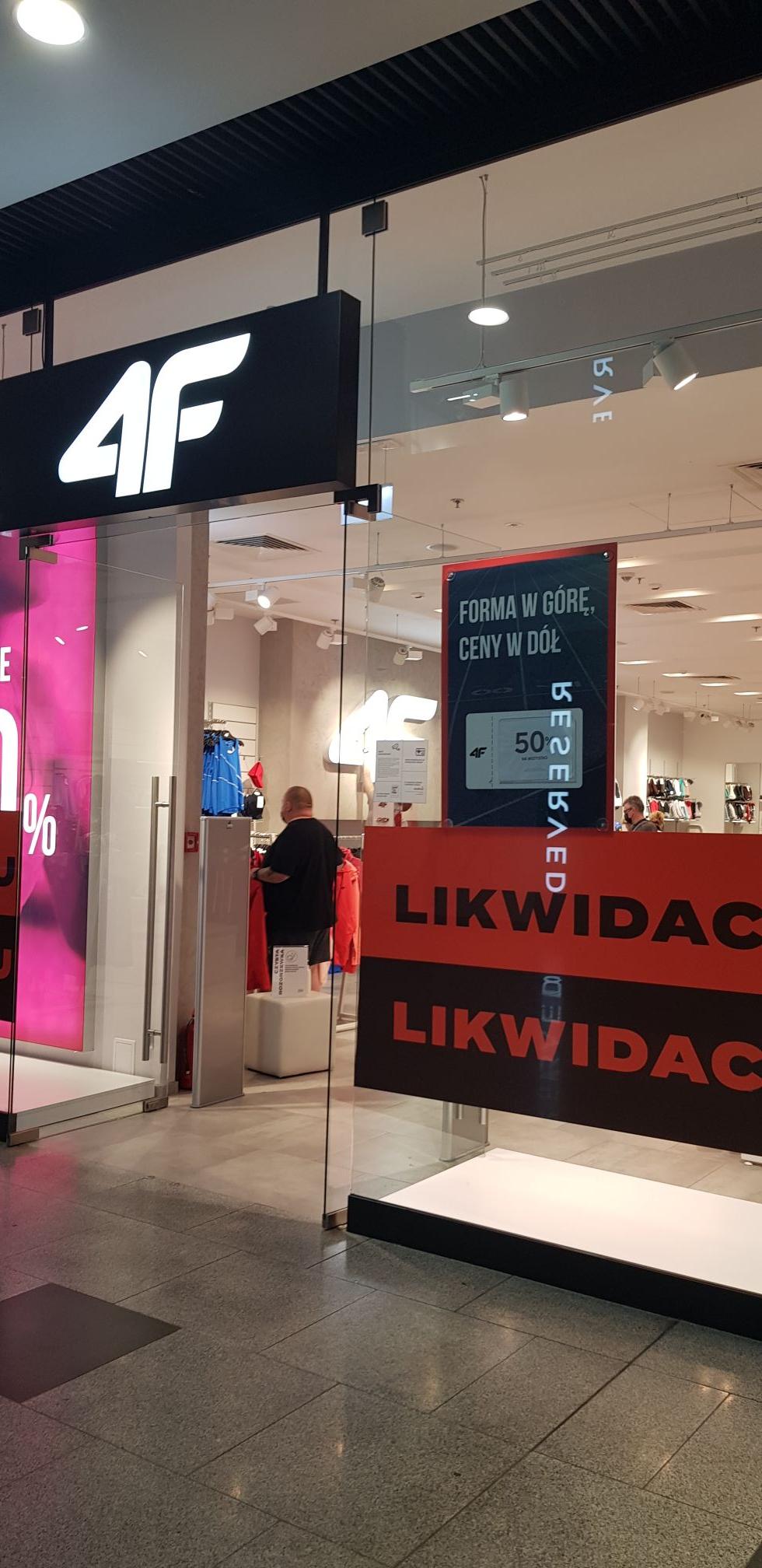 Likwidacja sklepu 4f Łódź Sukcesja i CH Forum Gliwice