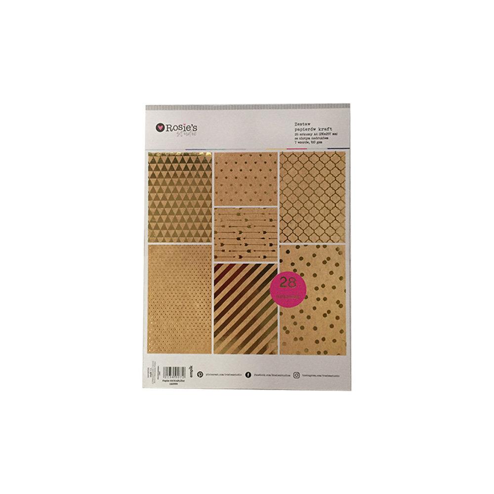 Zestaw papierów kolorowych, format A4, złote, 28 arkuszy