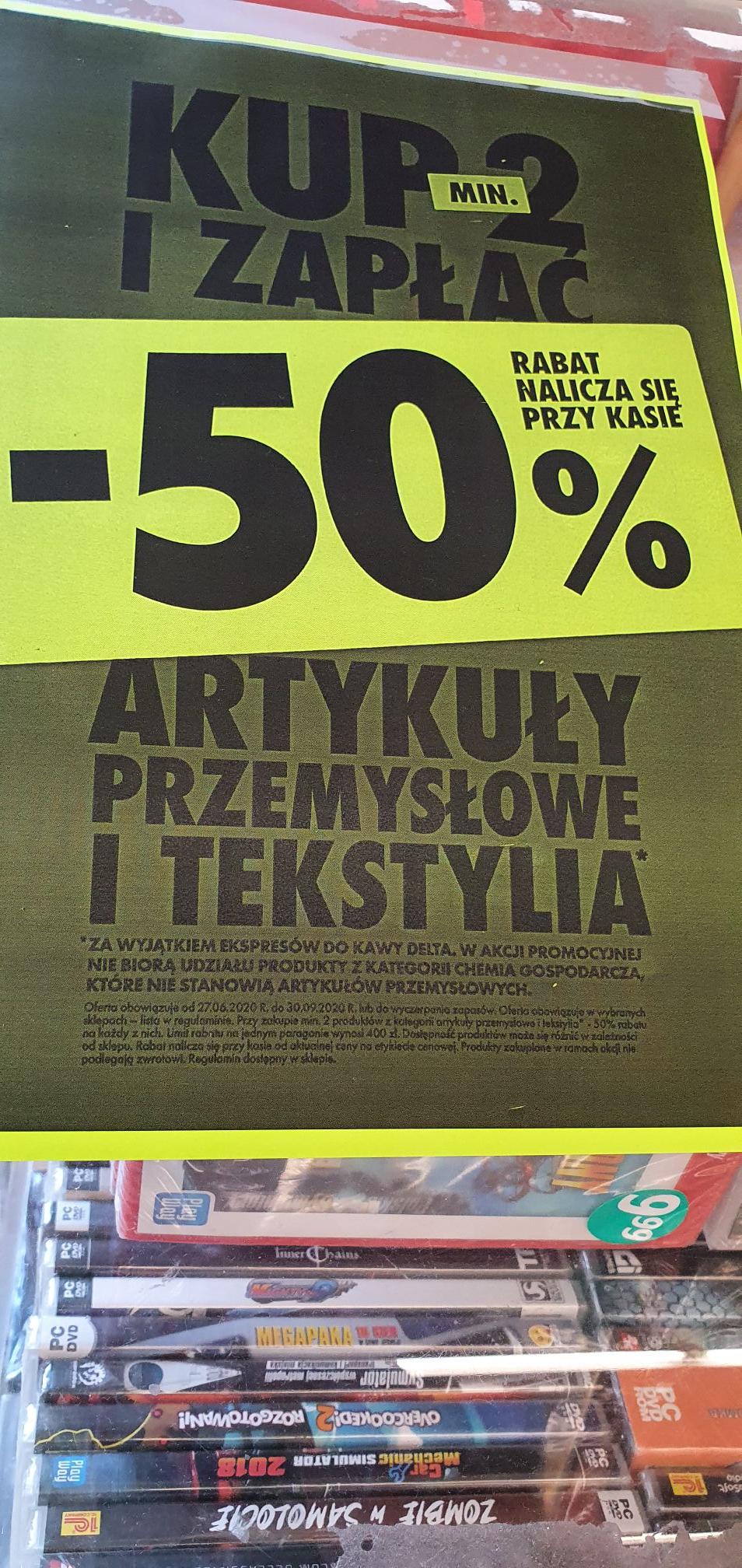 Biedronka TYLKO OUTLET Artykuły tekstylne i przemysłowe kup min 2 i zapłać 50% taniej