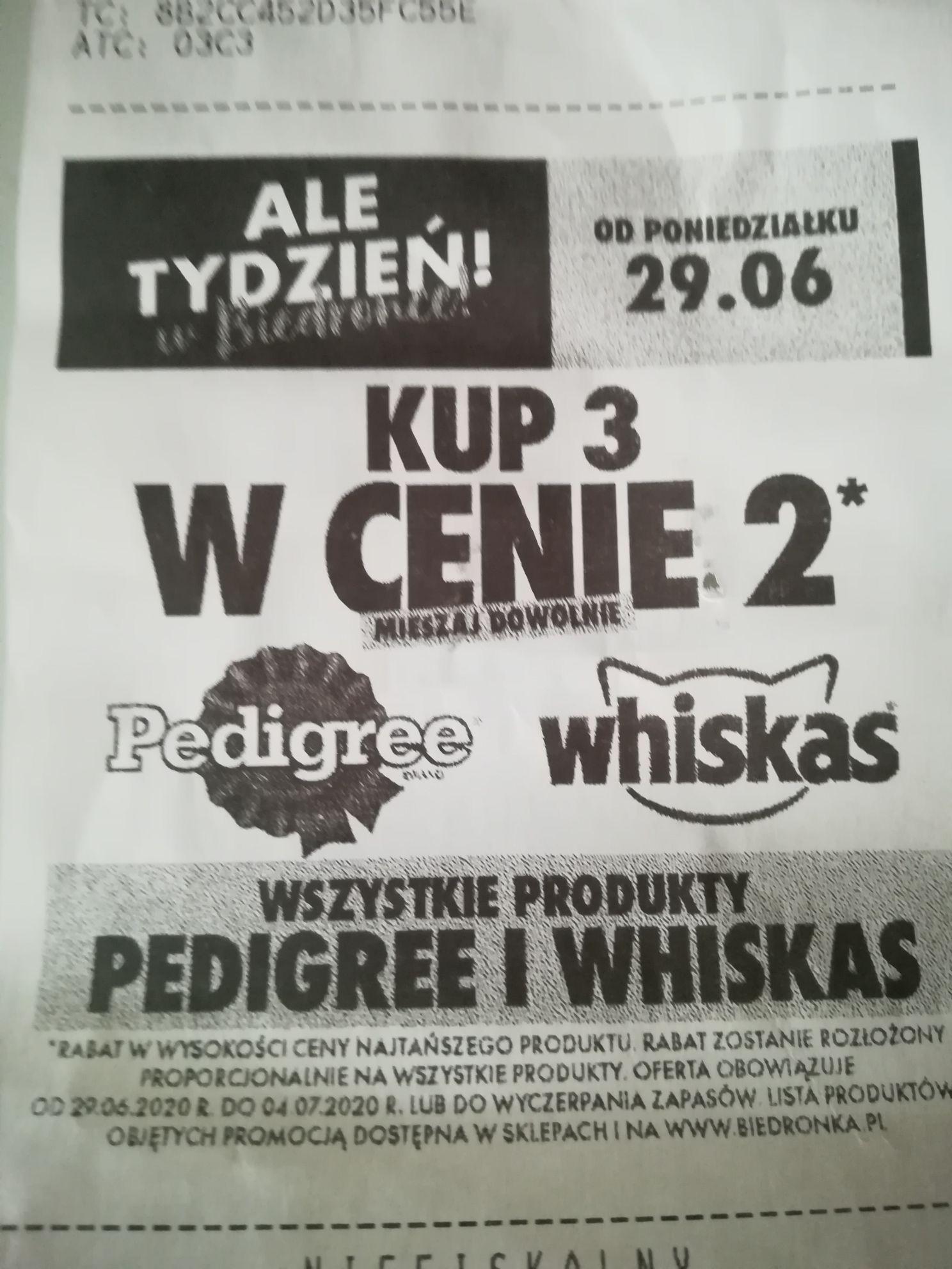 Biedronka 3 w cenie 2 Pedigree i Whiskas