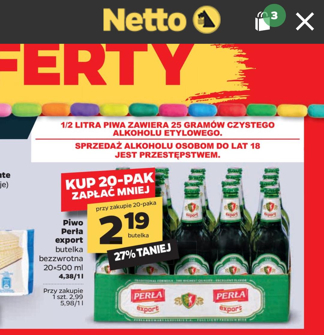 Netto piwo Perła Export przy zakupie 20 szt.