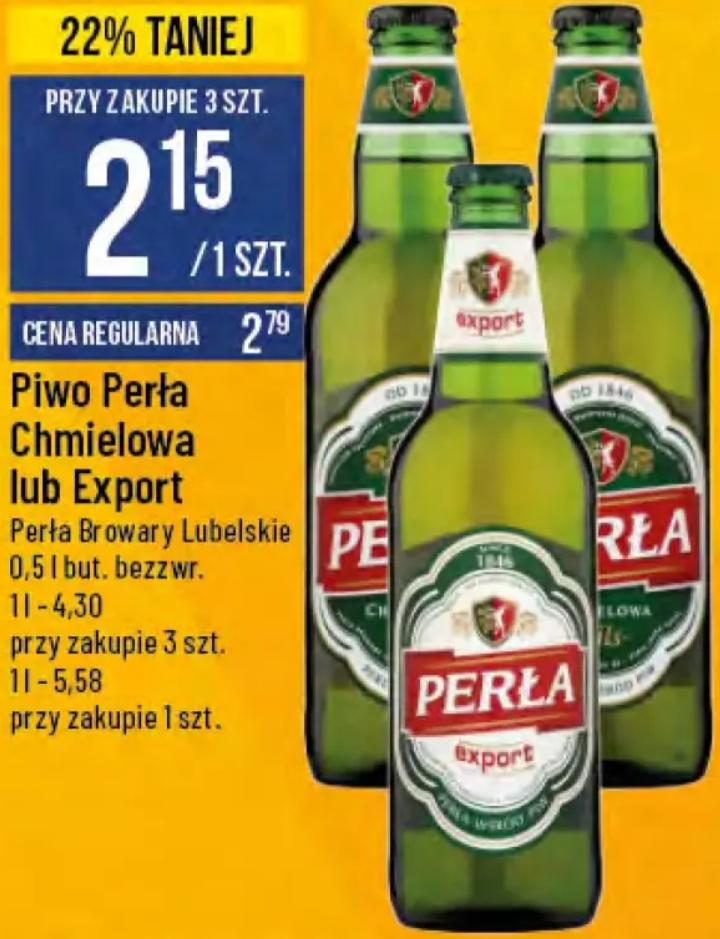 Piwo Perła CHMIELOWA lub EXPORT przy zakupie 3 szt. PoloMarket