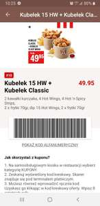 2 kubelki: Classic i 15 Hot Wings za 50 zł ( kupon KFC)