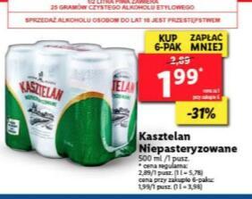 Piwo Kasztelan puszka 500ml przy zakupie 6 sztuk @Lidl