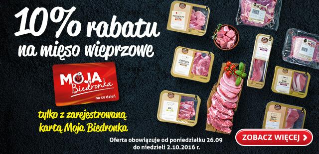 10% rabatu na mięso wieprzowe tylko z kartą Moja Biedronka