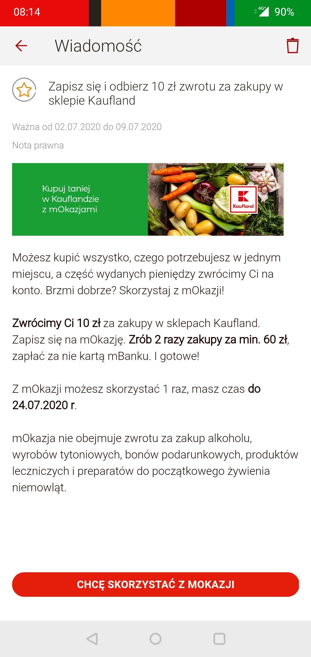 Kaufland 10 zł zwrotu za zakupy - mOkazja